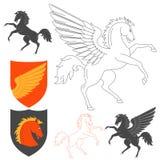 Pegasus And Horse Illustration Stock Image