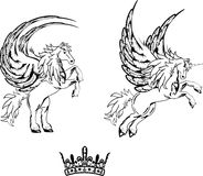 Pegasus horse sticker tattoo set Stock Photo