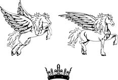 Pegasus horse sticker tattoo set2 Stock Image