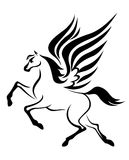 Pegasus horse with wings. Black pegasus horse with wings. Vector illustration Stock Image