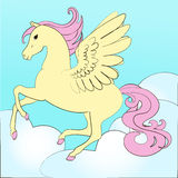 Pegasus, the horse with wings flying in the sky stock illustration