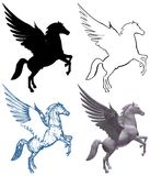 Pegasus Horse With Wings Isolated On White Vector Stock Images