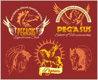 Pegasus and horses vintage labels, badges Royalty Free Stock Photo