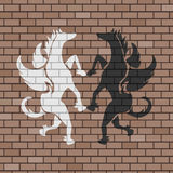 Pegasus illustration in brick wall Royalty Free Stock Images
