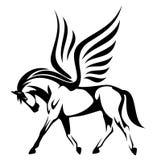 Pegasus-Illustration - geflügeltes Pferdeseitenansicht Schwarzweiss-VE Lizenzfreie Stockfotos