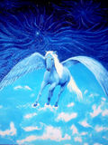 Pegasus im kosmischen Raum Malerei und Grafikdesign stockfotos
