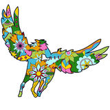 Pegasus kleurrijk voor kinderen royalty-vrije illustratie