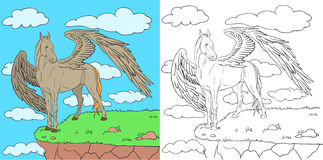 Pegasus. With large wings on the edge of a cliff Royalty Free Stock Photo