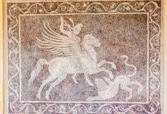 Pegasus Lion Mosaic Rhodes Greece Royaltyfri Foto