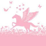 Pegasus with little hearts and love Stock Image