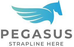 Pegasus Logo. Pegasus the mythical winged horse of Greek legend. Suitable for company branding stock illustration