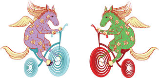 Pegasus monta uma bicicleta Imagem de Stock