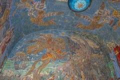 Pegasus mosaic at Mont Saint Odile Cloister, Ottrott, , France. OTTROTT, FRANCE - JUNE 4, 2016: pegasus mosaic at Chapelles des Larmes at Mont Sainte Odile in stock image