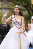 The Pegasus Parade 2018. Louisville, Kentucky, USA - May 03, 2018: The Pegasus Parade, 2018 Kentucky Derby Princess riding on a float, down W Broadway st stock images