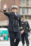 The Pegasus Parade 2018. Louisville, Kentucky, USA - May 03, 2018: The Pegasus Parade, Firefighters in formal uniform, waving at the spectators during the parade stock image