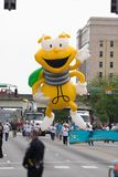 The Pegasus Parade 2018. Louisville, Kentucky, USA - May 03, 2018: The Pegasus Parade, Giant balloon in shape of Louie The Lightning Bug, going down the street stock photography