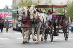 The Pegasus Parade 2018. Louisville, Kentucky, USA - May 03, 2018: The Pegasus Parade, Man and woman riding a carriage pulled by horses down W Broadway stock images