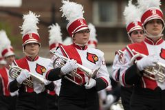 The Pegasus Parade 2018. Louisville, Kentucky, USA - May 03, 2018: The Pegasus Parade, Marching band from the University of Louisville going down W Broadway royalty free stock photo