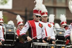 The Pegasus Parade 2018. Louisville, Kentucky, USA - May 03, 2018: The Pegasus Parade, Marching band from the University of Louisville going down W Broadway stock images