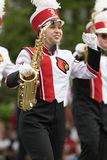 The Pegasus Parade 2018. Louisville, Kentucky, USA - May 03, 2018: The Pegasus Parade, Marching band from the University of Louisville going down W Broadway stock photography