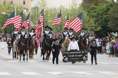 The Pegasus Parade 2018. Louisville, Kentucky, USA - May 03, 2018: The Pegasus Parade, Members of the Company B Drill Team from Hardin County, Kentucky, Riding royalty free stock photo
