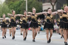 The Pegasus Parade 2018. Louisville, Kentucky, USA - May 03, 2018: The Pegasus Parade, Members of the North Allegheny High School, Marching Band from Pittsburgh royalty free stock image