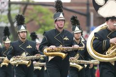 The Pegasus Parade 2018. Louisville, Kentucky, USA - May 03, 2018: The Pegasus Parade, Members of the North Allegheny High School, Marching Band from Pittsburgh royalty free stock photos