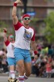 The Pegasus Parade 2018. Louisville, Kentucky, USA - May 03, 2018: The Pegasus Parade, Members of the 610 Stompers dancing down W Broadway, during the parade stock photos