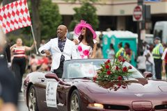 The Pegasus Parade 2018. Louisville, Kentucky, USA - May 03, 2018: The Pegasus Parade, Montel Williams TV show host, riding on a car going down W Broadway stock image