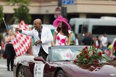 The Pegasus Parade 2018. Louisville, Kentucky, USA - May 03, 2018: The Pegasus Parade, Montel Williams TV show host, riding on a car going down W Broadway stock photos