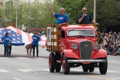 The Pegasus Parade 2018. Louisville, Kentucky, USA - May 03, 2018: The Pegasus Parade, An old Meijer's Chevrolet truck going down W Broadway royalty free stock image