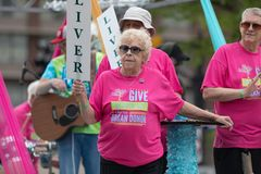 The Pegasus Parade 2018. Louisville, Kentucky, USA - May 03, 2018: The Pegasus Parade, People wearing shirts that say Give The Gift Of Life Be An Organ Donor royalty free stock photography