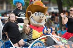 The Pegasus Parade 2018. Louisville, Kentucky, USA - May 03, 2018: The Pegasus Parade, Person dress up as Andy the Armadillo, mascot of the Texas Roadhouse stock photos