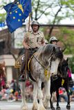 The Pegasus Parade 2018. Louisville, Kentucky, USA - May 03, 2018: The Pegasus Parade, Police Officers with horses, going down W Broadway stock photography