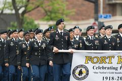 The Pegasus Parade 2018. Louisville, Kentucky, USA - May 03, 2018: The Pegasus Parade, United States Army troop, marching down W Broadway during the parade stock photos
