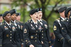 The Pegasus Parade 2018. Louisville, Kentucky, USA - May 03, 2018: The Pegasus Parade, United States Army troop, marching down W Broadway during the parade stock images