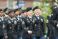 The Pegasus Parade 2018. Louisville, Kentucky, USA - May 03, 2018: The Pegasus Parade, United States Army troop, marching down W Broadway during the parade royalty free stock photo