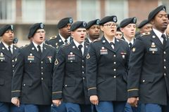 The Pegasus Parade 2018. Louisville, Kentucky, USA - May 03, 2018: The Pegasus Parade, United States Army troop, marching down W Broadway during the parade royalty free stock image
