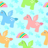 Pegasus pattern. Seamless pattern with pegasus, rainbows and stars Stock Photo