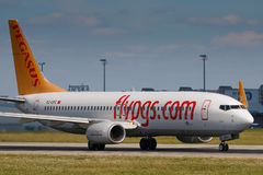 Pegasus. PRAGUE, CZECH REPUBLIC - JULY 29: Boeing 737-800 of Pegasus Airlines take off from PRG Airport in Prague on July 29, 2017. Pegasus Airlines is the Stock Photography