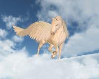 Pegasus que mira abajo a través de las nubes Imagen de archivo