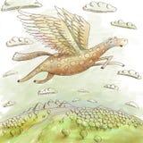 Pegasus que voa sobre a terra Imagens de Stock Royalty Free