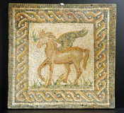Pegasus, Roman mosaic of a winged horse Stock Image