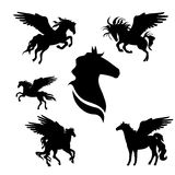 Pegasus set. Of black silhouettes. Icons and illustrations of animals. Wild animals pattern stock illustration