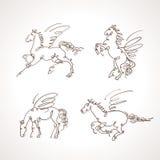 pegasus set vektor stock illustrationer
