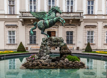 Pegasus springbrunn, Mirabell trädgårdar, Salzburg Arkivbilder