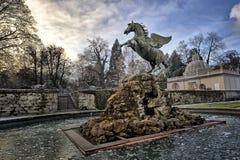 Pegasus statue in Salzburg. Pegasus statue at the Mirabell Garden in Salzburg HDR image stock image