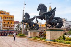 Pegasus statues in Cartagena. Royalty Free Stock Photography