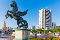 Pegasus Statuesr Cartagena de los indias Bolivar Colombia Fotografering för Bildbyråer