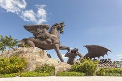 Pegasus staty på Gulfstream Park, Florida Royaltyfri Bild